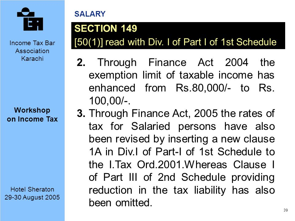 SALARY SECTION 149. [50(1)] read with Div. I of Part I of 1st Schedule.